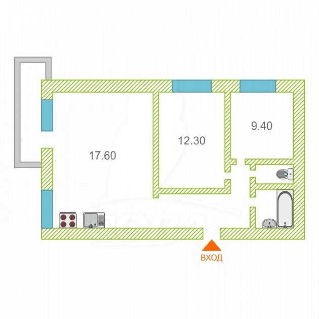 2 комнатная квартира  в районе Маяк, ул. Волгоградская, 103, г. Тюмень