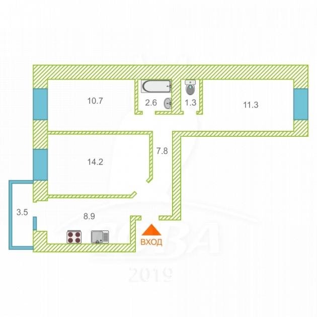 3 комнатная квартира  в районе ММС, ул. Голышева, 2/1, Жилой комплекс «Роза ММС», г. Тюмень
