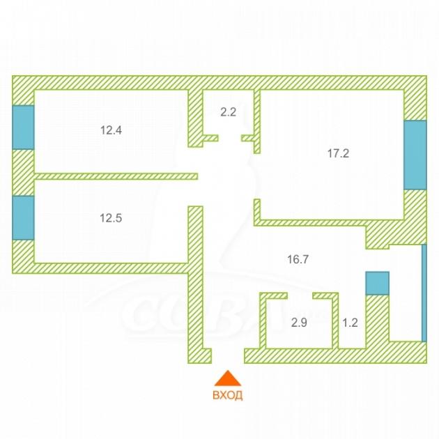2 комнатная квартира  в районе Дом Обороны, ул. Пролетарская, 116, г. Тюмень