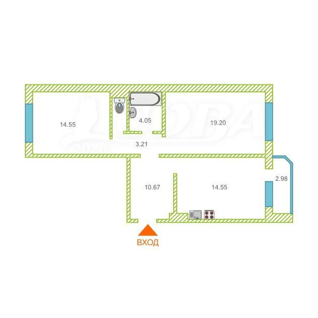 2 комнатная квартира  в Восточном 3 мкрн., ул. Широтная, 192/1, Жилой комплекс «Малахово», г. Тюмень