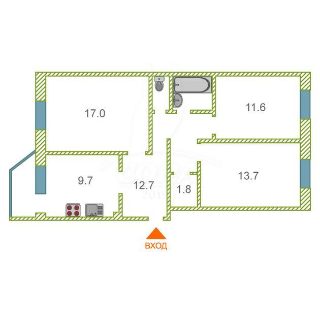 3 комнатная квартира  в районе Энергетиков, ул. Гагарина, 30, г. Сургут