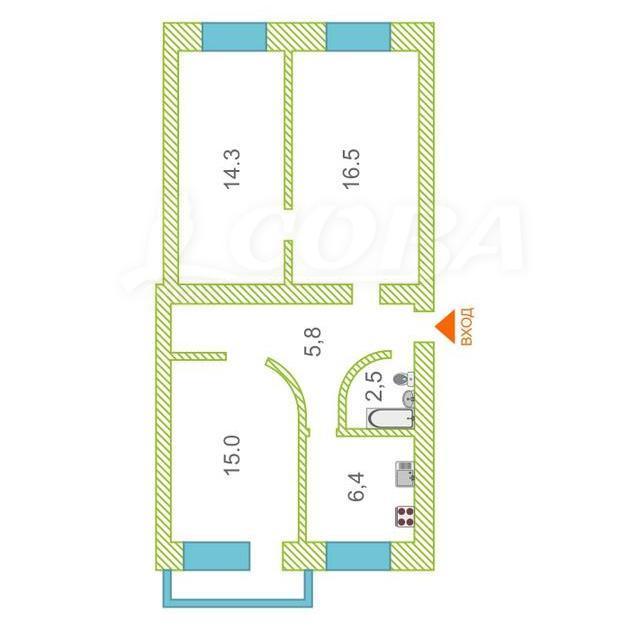 3 комнатная квартира  в районе Тарманы, ул. Игримская, 28, г. Тюмень