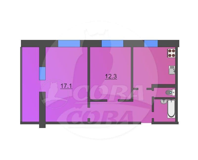 2 комнатная квартира  в Заречном 2 мкрн., ул. Щербакова, 124, г. Тюмень