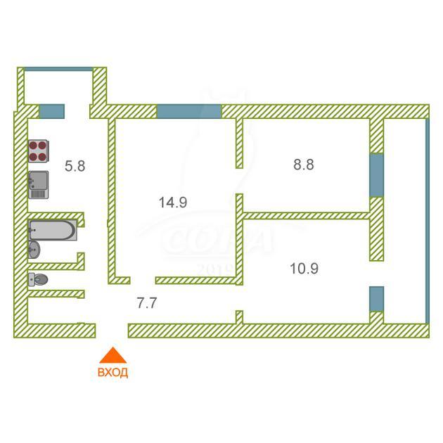 3 комнатная квартира  в районе Нефтегазового университета, ул. 50 лет Октября, 44, г. Тюмень