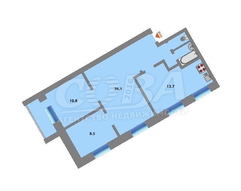 3 комнатная квартира  в районе Воровского, ул. Воровского, 21, г. Тюмень
