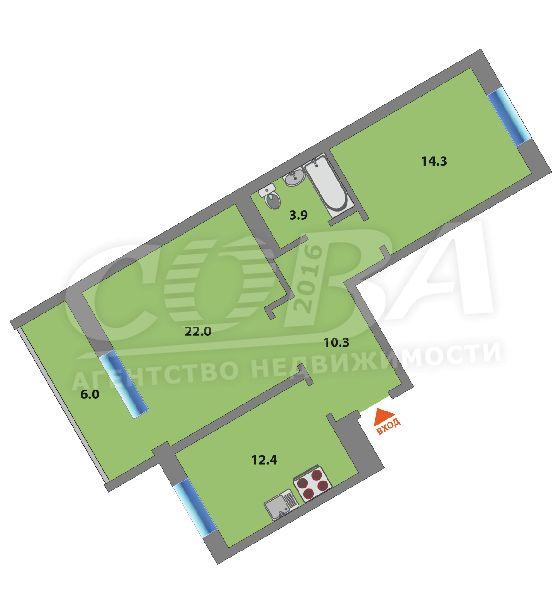 2 комнатная квартира  в районе Южный 2/ Чаплина, ул. Демьяна Бедного, 92, Жилой комплекс «Близнецы», г. Тюмень