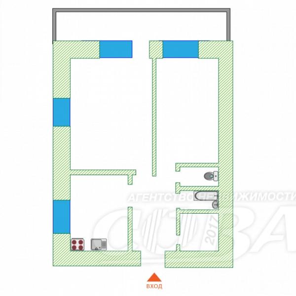 2 комнатная квартира  в 1 микрорайоне, ул. Широтная, 109, г. Тюмень