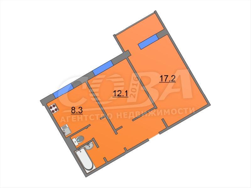 2 комнатная квартира  в 6 микрорайоне, ул. Широтная, 13, г. Тюмень