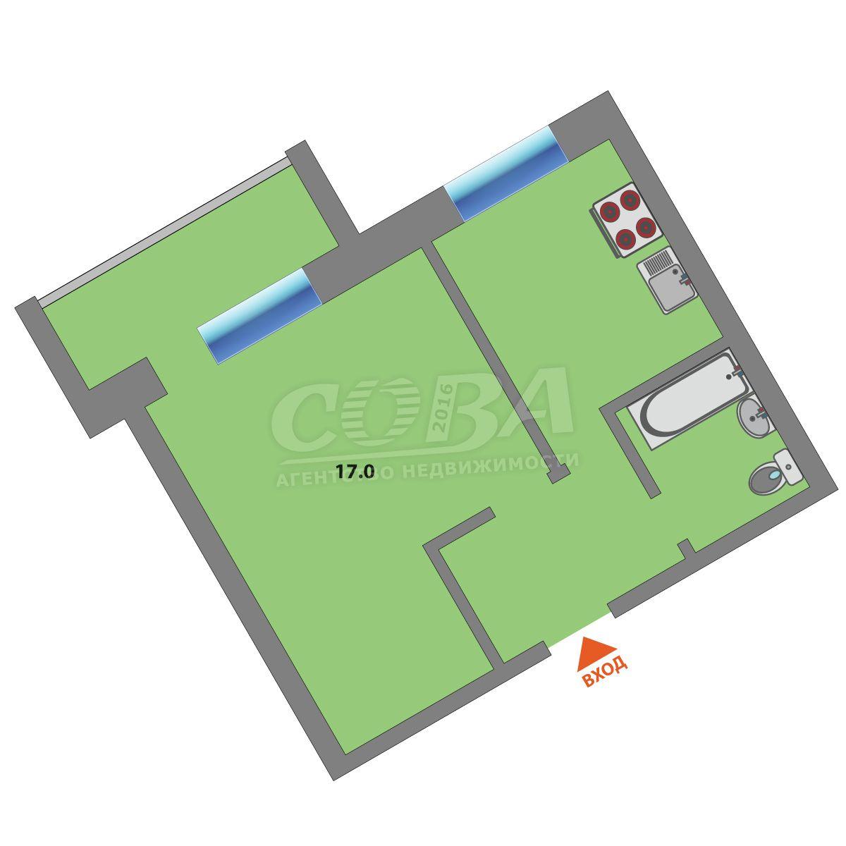 1 комнатная квартира  в районе Московского тр., ул. Московский тракт, 121, г. Тюмень