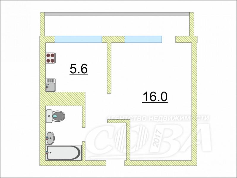 1 комнатная квартира  в центре, ул. Гагарина, 3, п. Винзили