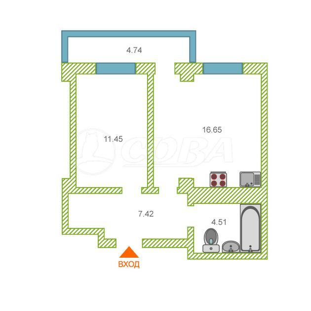 1 комнатная квартира  в районе Ожогина / Патрушева, ул. Константина Посьета, 8, ЖК «Квартал 1964», г. Тюмень