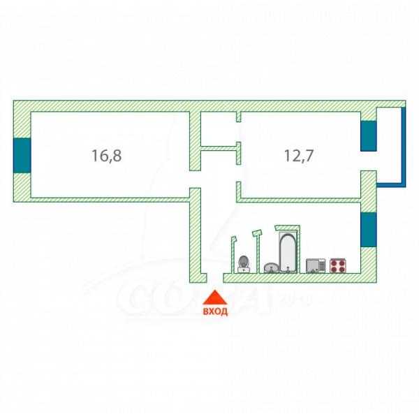 2 комнатная квартира  в районе КПД (Геологоразведчиков), ул. проезд Геологоразведчиков, 38, г. Тюмень