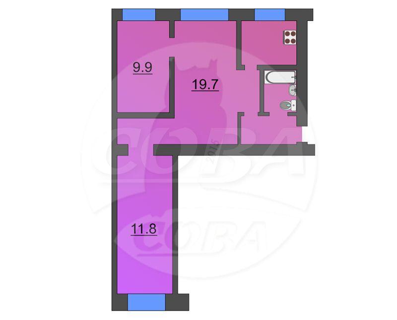 3 комнатная квартира  в районе КПД (Геологоразведчиков), ул. проезд Геологоразведчиков, 33, г. Тюмень