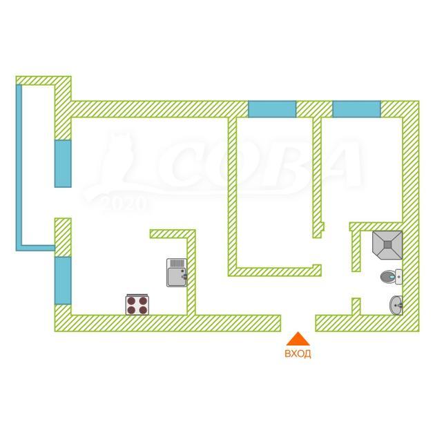 2 комнатная квартира  в районе Дом Обороны, ул. Льва Толстого, 5, г. Тюмень
