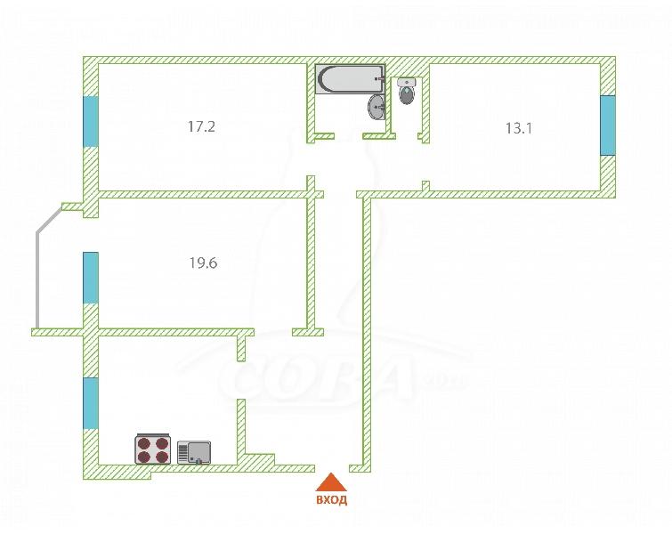 3 комнатная квартира  в Восточном мкрн., ул. Майский проезд, 5, г. Тюмень
