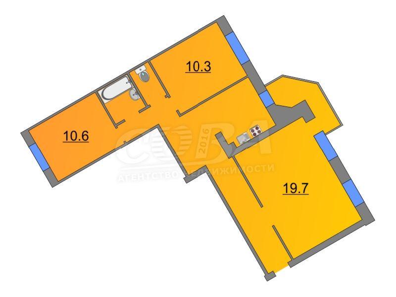 3 комнатная квартира  в районе Южный 2/ Чаплина, ул. Николая Чаплина, 113, г. Тюмень