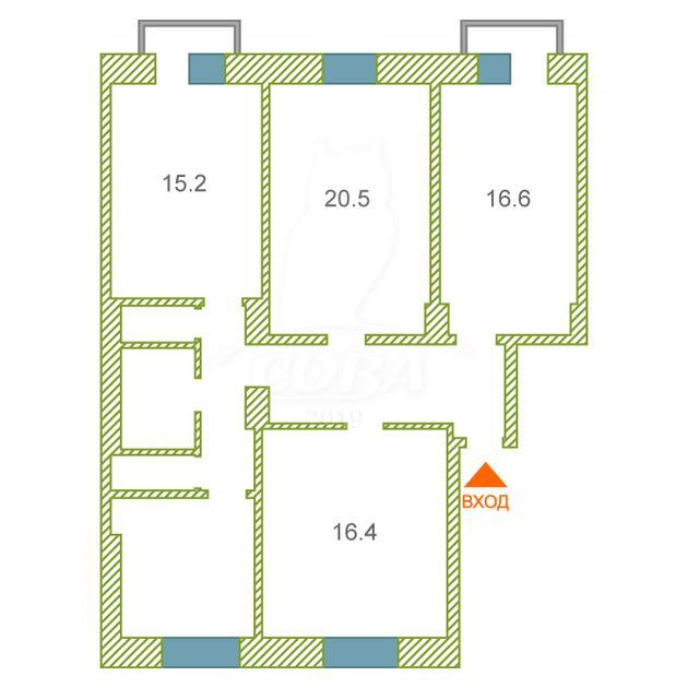4 комнатная квартира  в районе Дома печати, ул. Максима Горького, 39, г. Тюмень