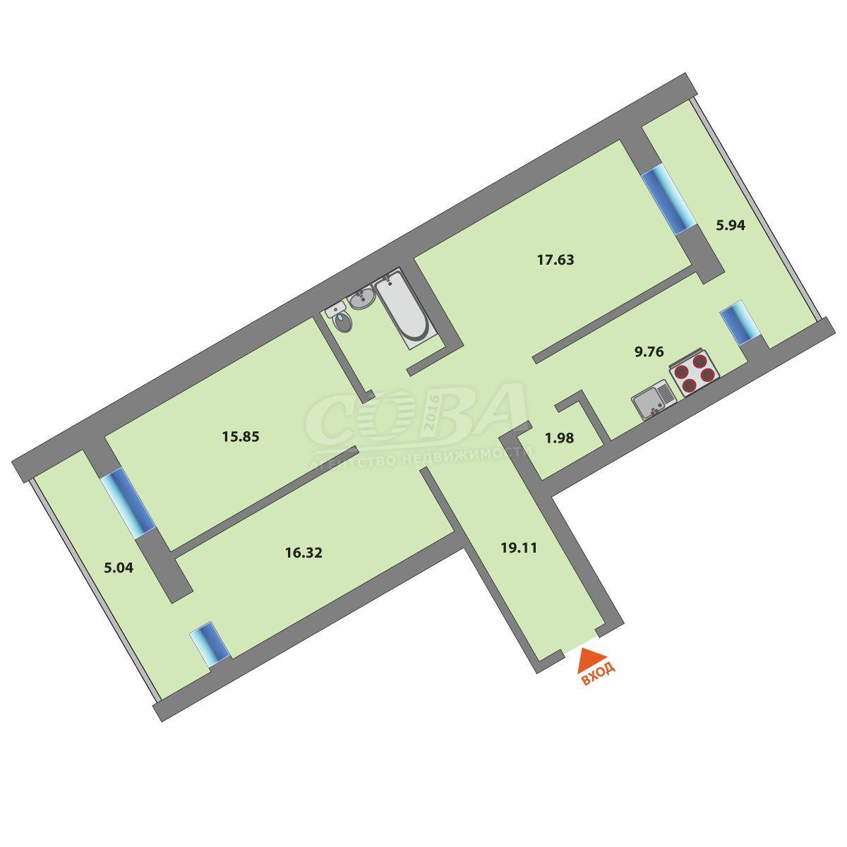 3 комнатная квартира  в районе Войновка, ул. Станционная, 24/1, г. Тюмень