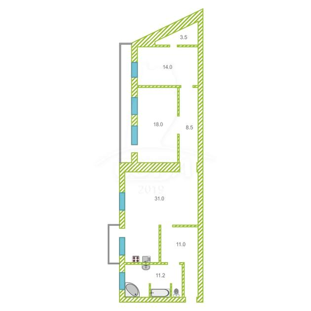 3 комнатная квартира  в районе Воровского, ул. Республики, 213, г. Тюмень
