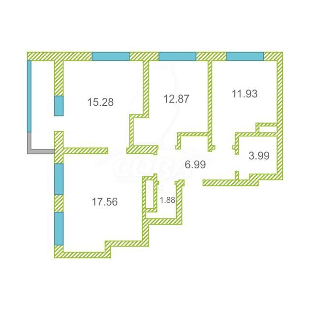 3 комнатная квартира  в районе Тюменская слобода, ул. Александра Протозанова, 4, ЖК «Преображенский», г. Тюмень