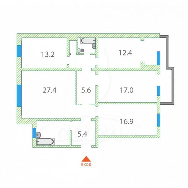 4 комнатная квартира  в районе Дом Обороны, ул. Клары Цеткин, 29, г. Тюмень