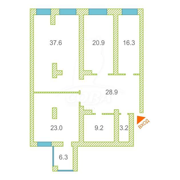 3 комнатная квартира  в историческом центре, ул. Водопроводная, 6/1, г. Тюмень