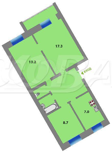 3 комнатная квартира  в районе ММС, ул. Мелиораторов, 10, г. Тюмень
