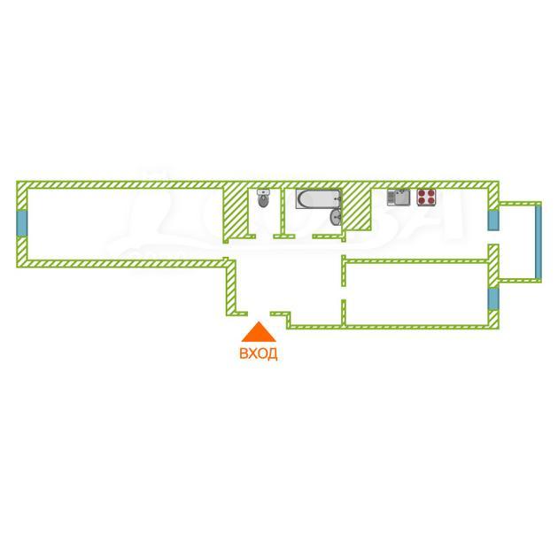 2 комнатная квартира  в Тюменском-2 мкрн., ул. Пермякова, 83, Микрорайон №2, г. Тюмень