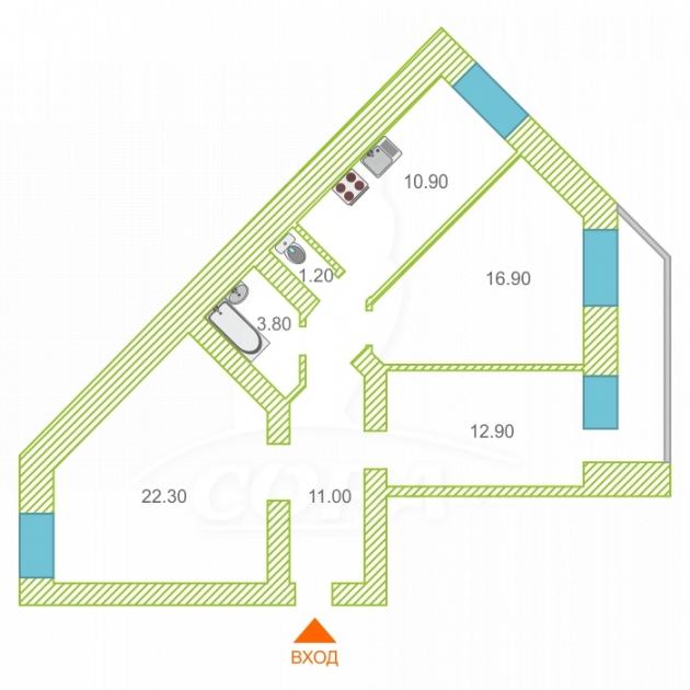 3 комнатная квартира  в районе Мыс, ул. Малиновского, 6А/2, г. Тюмень