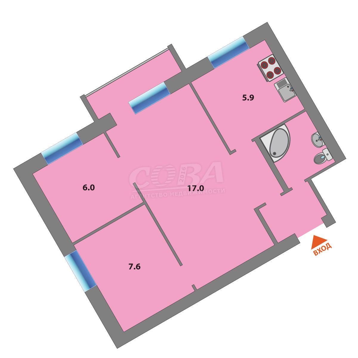 3 комнатная квартира  в центре Тюмени, ул. Ленина, 79, г. Тюмень