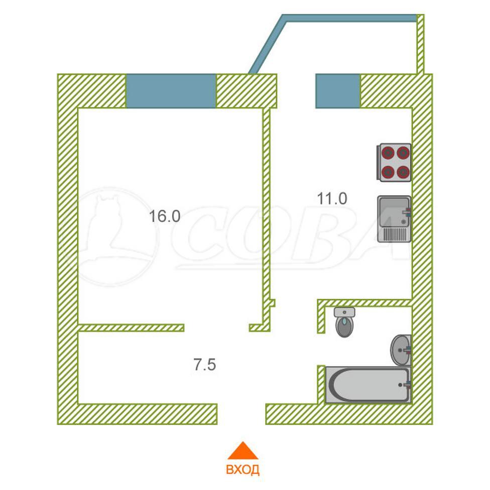 1 комнатная квартира  в районе Войновка, ул. Энергостроителей, 11, г. Тюмень