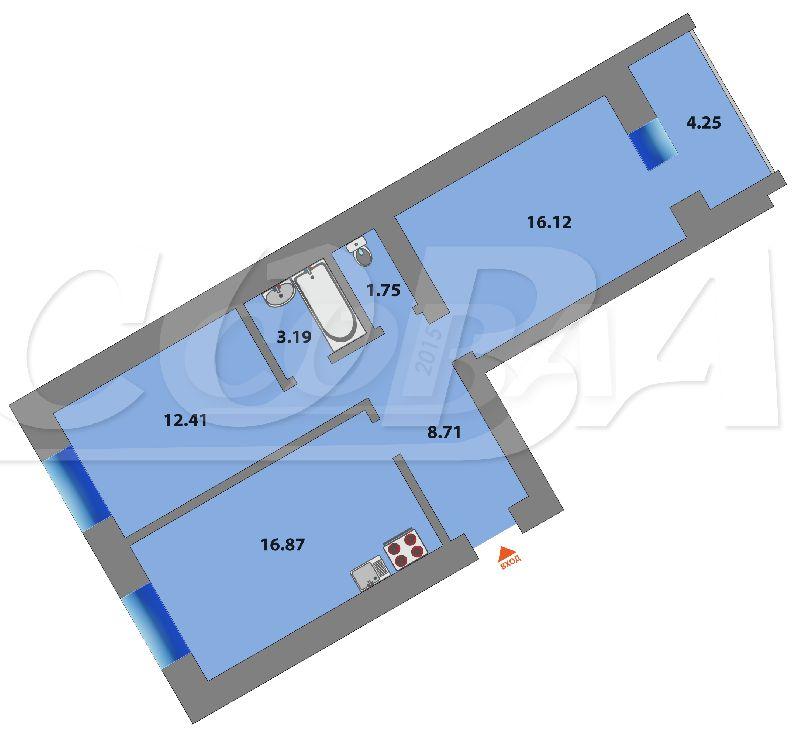 2 комнатная квартира  в районе КПД (Харьковская), ул. Харьковская, 66, Жилой комплекс «Центральный», г. Тюмень