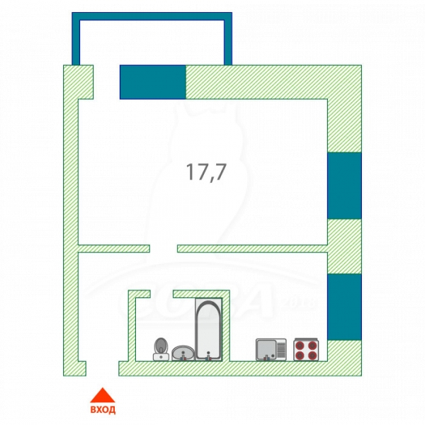 1 комнатная квартира  в районе КПД (Геологоразведчиков), ул. 50 лет ВЛКСМ, 83, г. Тюмень