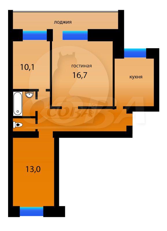 3 комнатная квартира  в районе ул.Малыгина, ул. Малыгина, 5, г. Тюмень