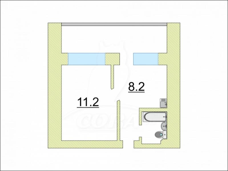 1 комнатная квартира  в центре, ул. Заводская, 14, п. Винзили