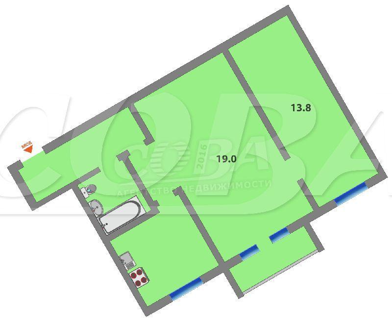 2 комнатная квартира  в районе студгородка, ул. Одесская, г. Тюмень