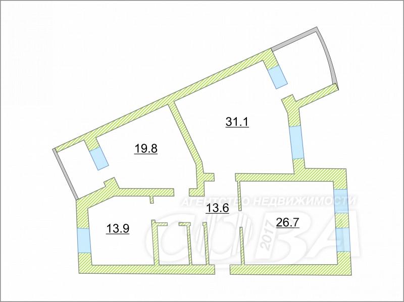 3 комнатная квартира  в 1 микрорайоне, ул. Олимпийская, 6А, г. Тюмень