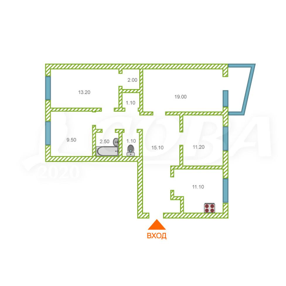 4 комнатная квартира  в районе УБР, ул. Энтузиастов, 55, г. Сургут