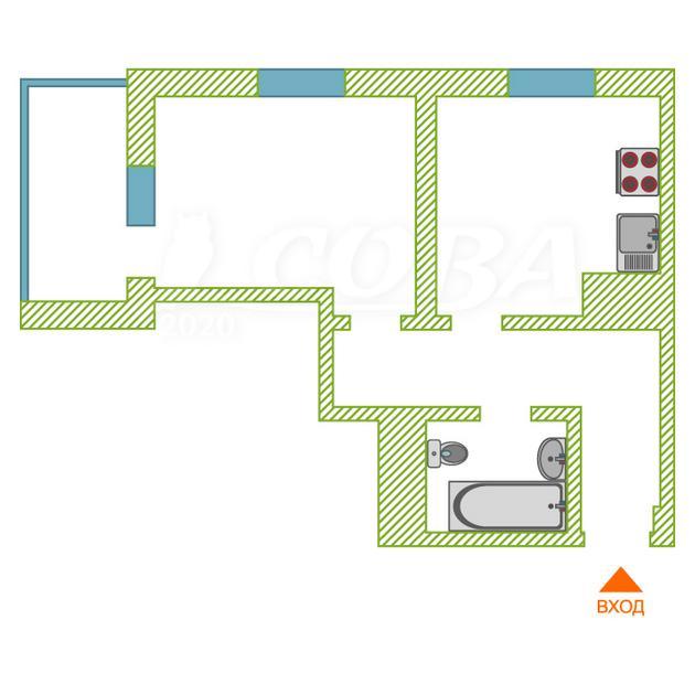 1 комнатная квартира  в районе Нагорный Тобольск, ул. 15-й микрорайон, 16, ЖД «Ермак-4», г. Тобольск