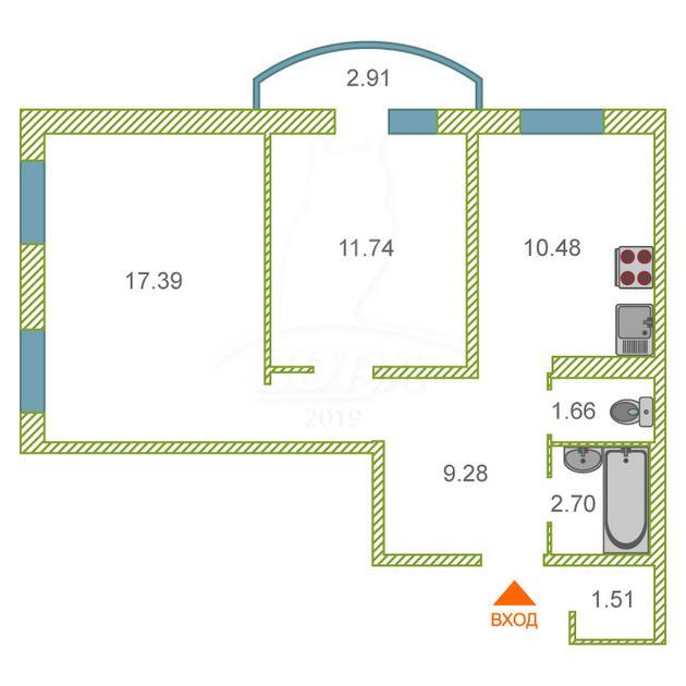 2 комнатная квартира  в районе Лесобаза (Тура), ул. Казачьи луга, 8, г. Тюмень