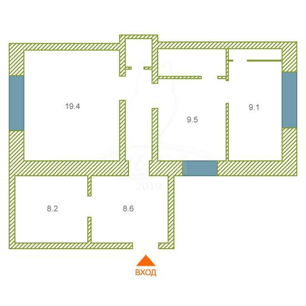 2 комнатная квартира  в районе Центральная часть, ул. Сосновая, 7, п. Новотарманский