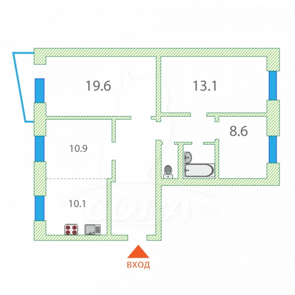 4 комнатная квартира  в районе ТРЦ Аврора, ул. Дзержинского, 6, г. Сургут