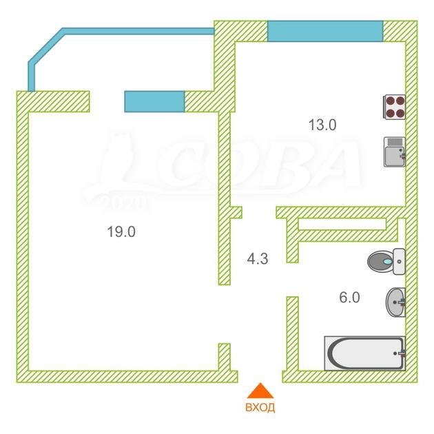 1 комнатная квартира  в районе Суходолье, ул. Монтажников, 41, Жилой комплекс «Юбилейный», г. Тюмень