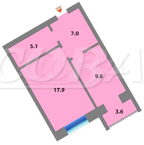 1 комнатная квартира  в районе Московского тр., ул. Московский тракт, 85, Квартал на Московском, г. Тюмень