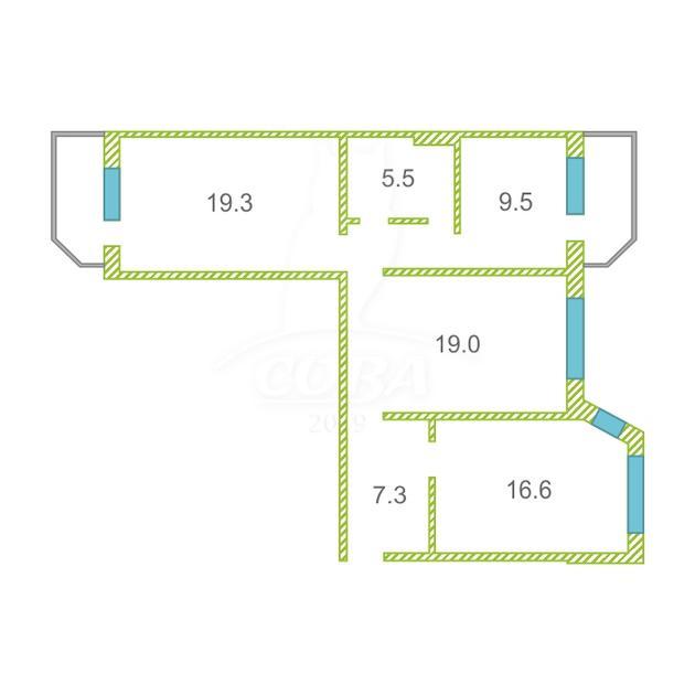 3 комнатная квартира  в Тюменском мкрн., ул. Пермякова, 65, г. Тюмень