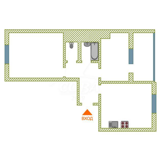 2 комнатная квартира  в районе Войновка, ул. Малая Боровская, 5, г. Тюмень