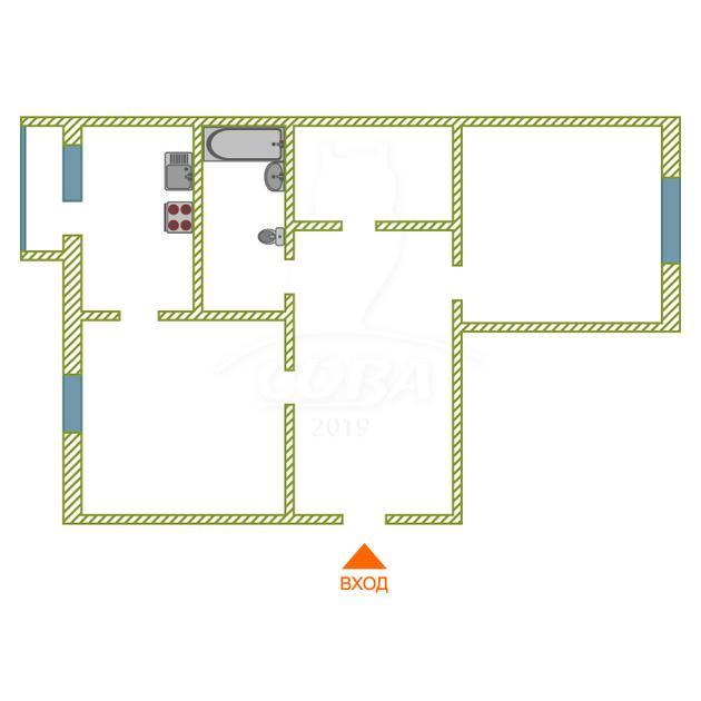 2 комнатная квартира  в районе Южный 2/ Чаплина, ул. Инженерная, 68, г. Тюмень