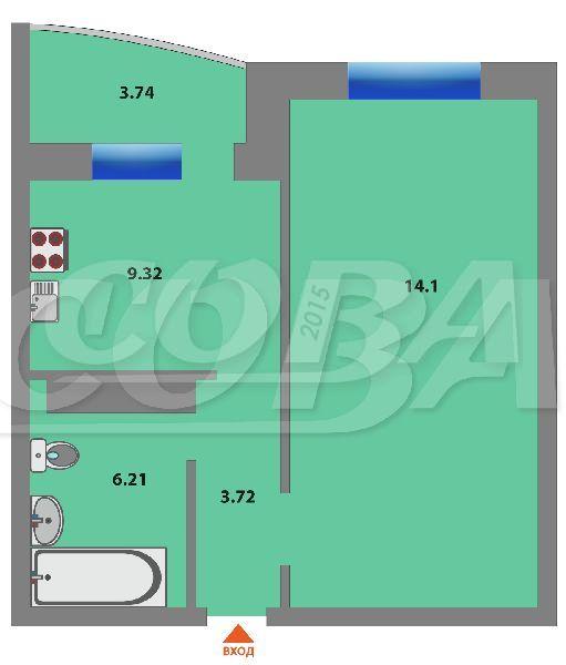 1 комнатная квартира  в районе Суходолье, ул. Широтная, 168/2, Жилой комплекс «Юбилейный», г. Тюмень