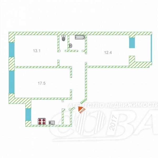 3 комнатная квартира  в 2 микрорайоне, ул. 30 лет победы, 122, г. Тюмень