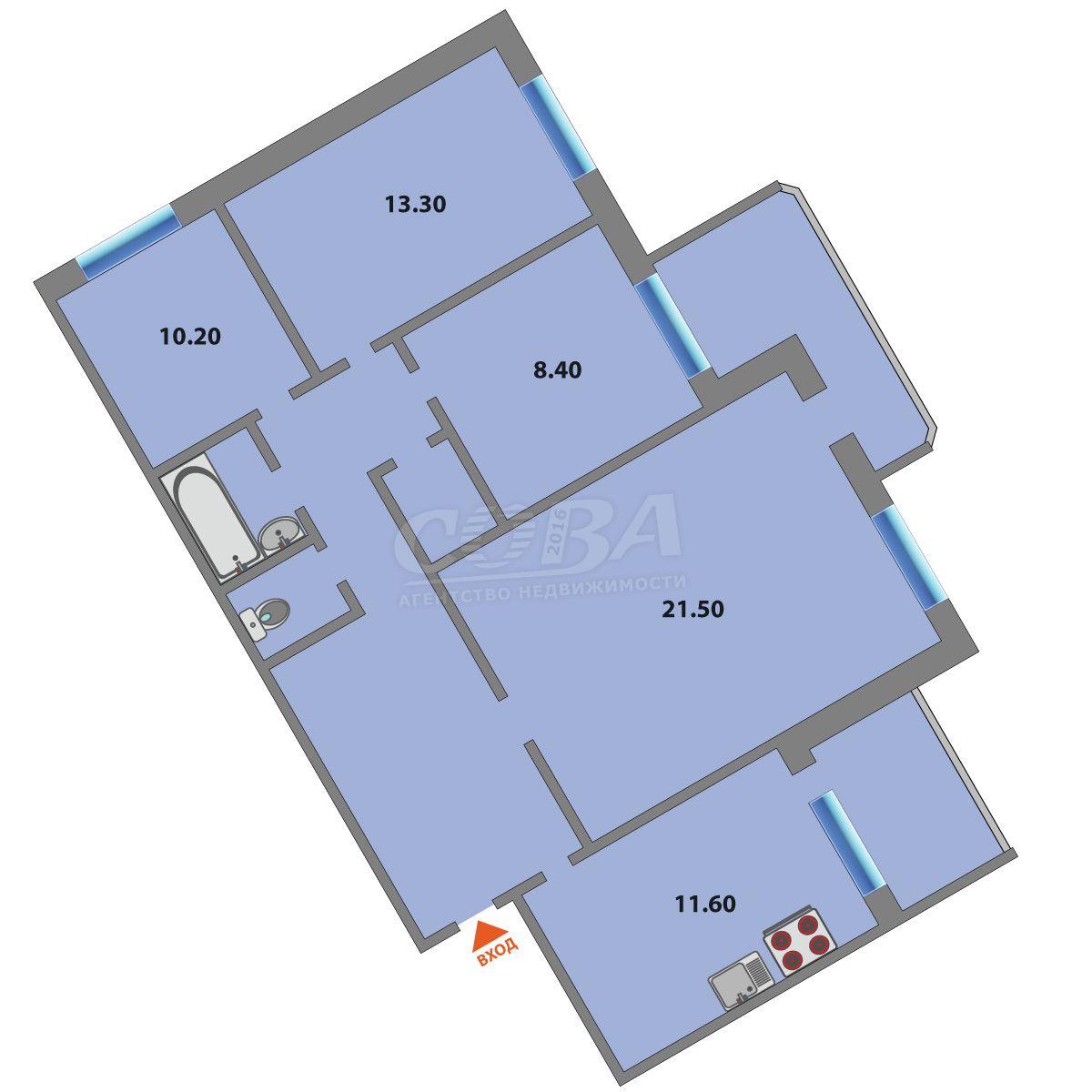 4 комнатная квартира  на КПД в районе 50 лет Октября, ул. Энергетиков, 45/2, г. Тюмень